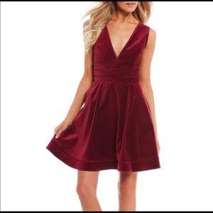 NWT Lauren James Morgan velvet dress in cranberry